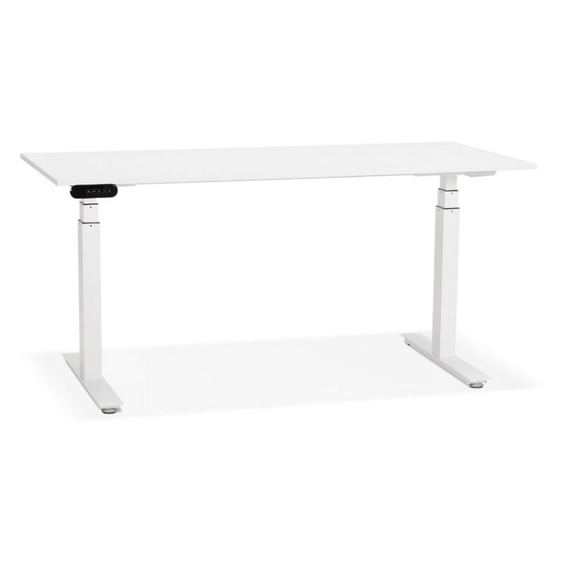 Bureau assis debout électrique en bois pieds blancs KESSY (160x80 cm) (blanc)