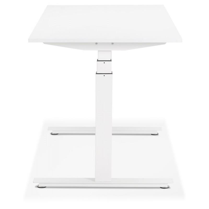 Bureau assis debout électrique en bois pieds blancs KESSY (160x80 cm) (blanc) - image 49868