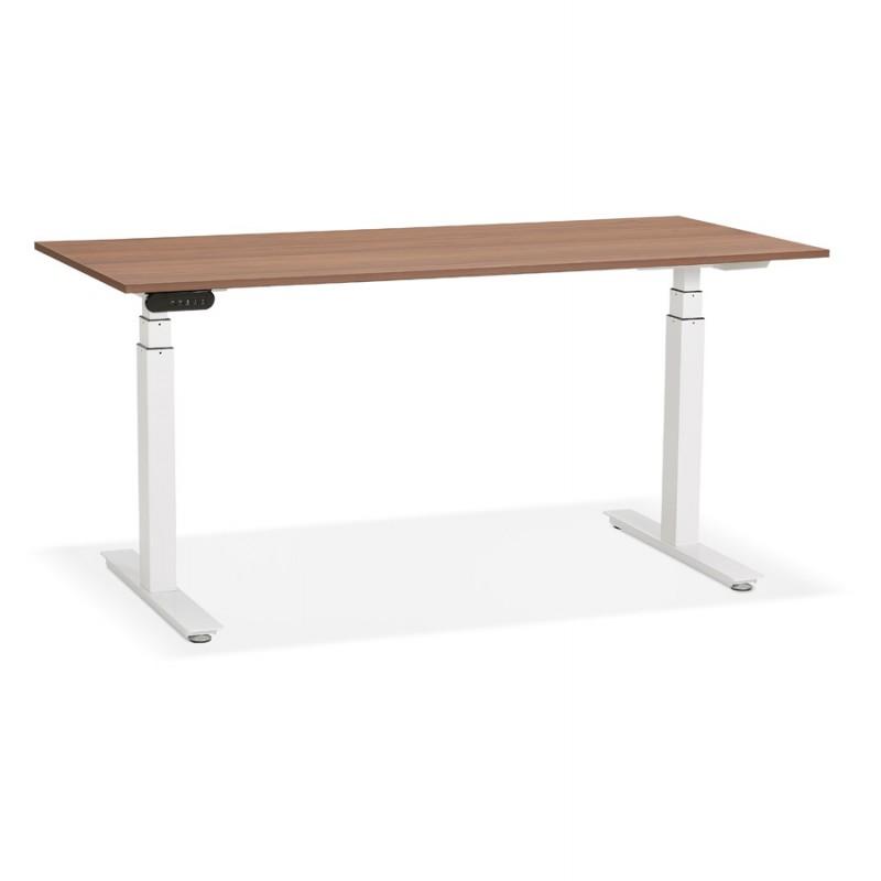Bureau assis debout électrique en bois pieds blancs KESSY (160x80 cm) (finition noyer) - image 49881