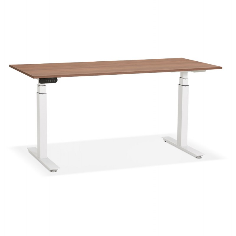 Seated standing electric wooden white feet KESSY (160x80 cm) (walnut finish) - image 49881