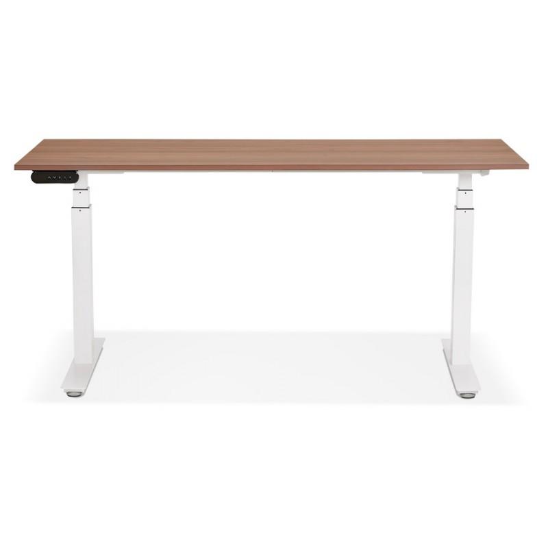 Bureau assis debout électrique en bois pieds blancs KESSY (160x80 cm) (finition noyer) - image 49882