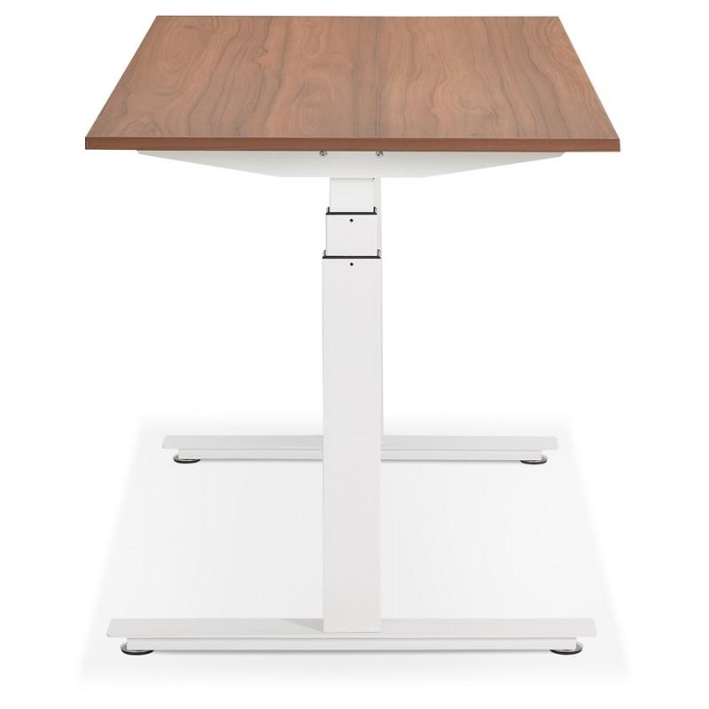 Bureau assis debout électrique en bois pieds blancs KESSY (160x80 cm) (finition noyer) - image 49883
