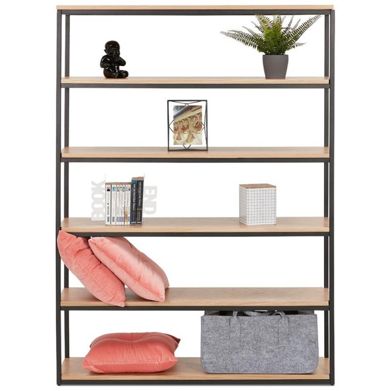 Etagère bibliothèque design style industriel en bois et métal AKARI (noir) - image 49988