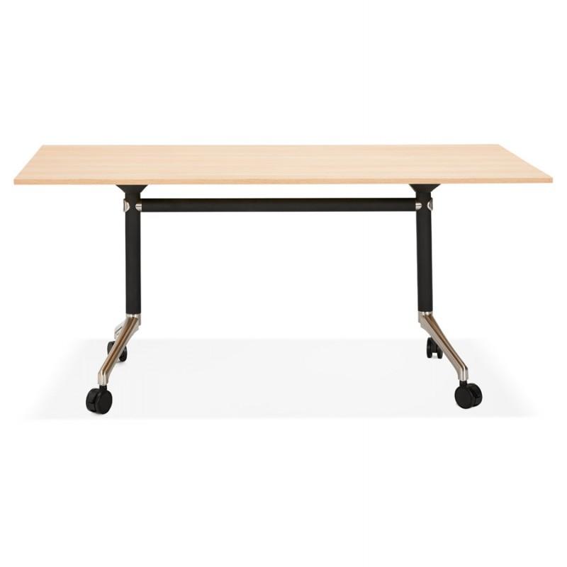 Tavolo a ruote in legno dai piedi neri SAYA (160x80 cm) (finitura naturale)