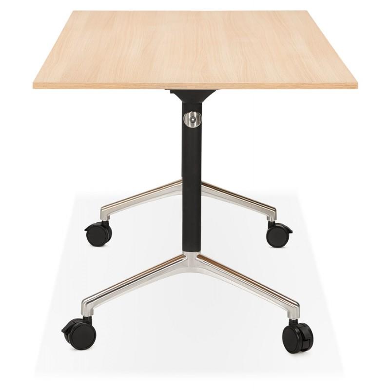 Tavolo a ruote in legno dai piedi neri SAYA (160x80 cm) (finitura naturale) - image 49990