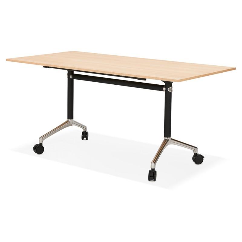 Table pliante sur roulettes en bois pieds noirs SAYA (160x80 cm) (finition naturelle) - image 49991