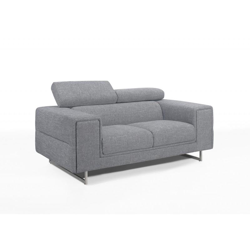Sofá recto de diseño de 2 plazas con cabezales de tela CYPRIA (gris)