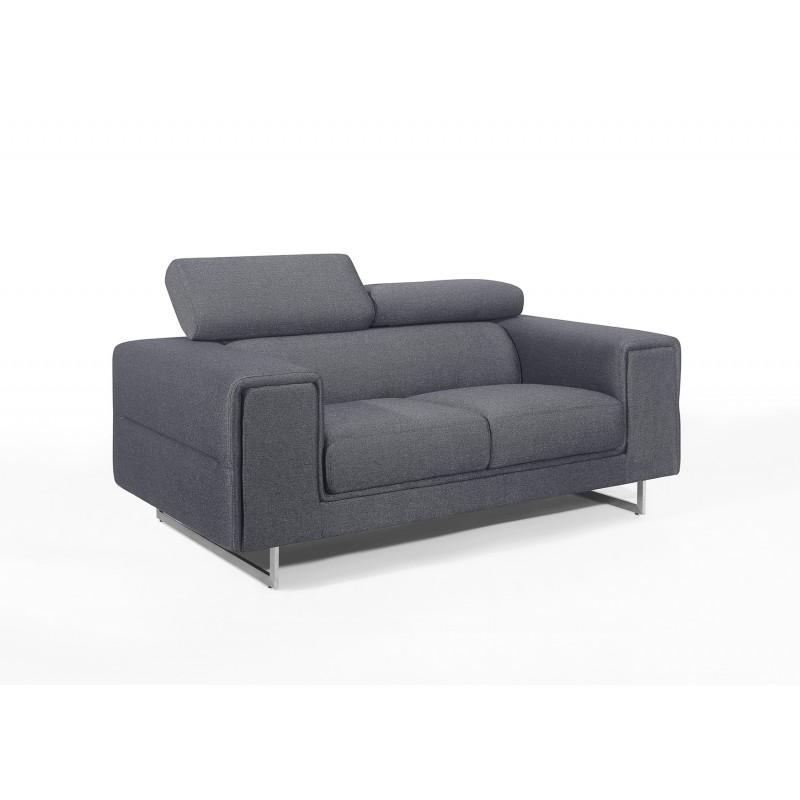 Canapé droit design 2 places avec têtières CYPRIA en tissu (gris foncé)