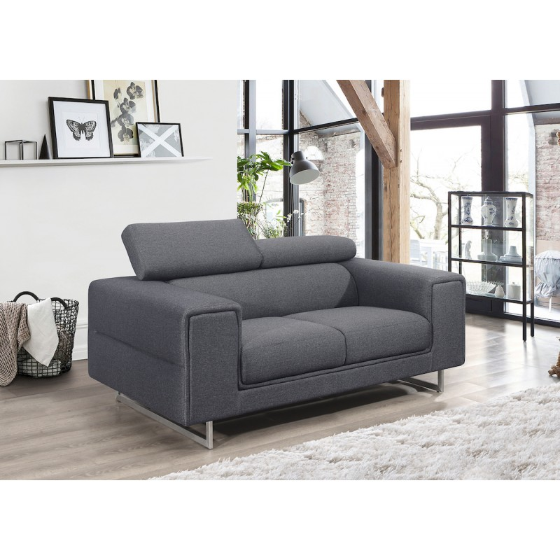 Canapé droit design 2 places avec têtières CYPRIA en tissu (gris foncé) - image 50140
