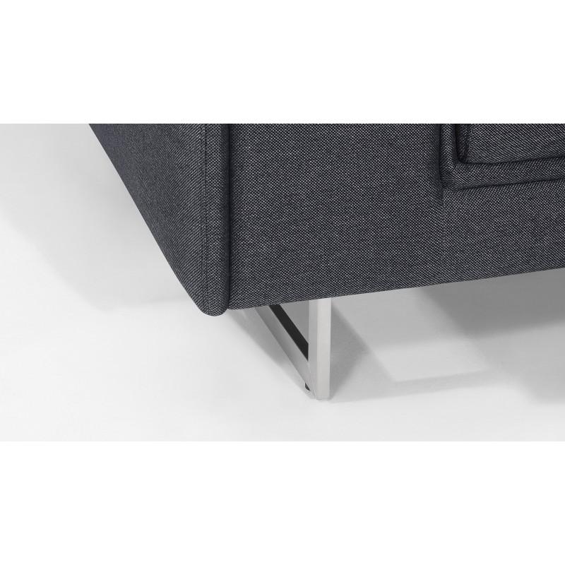 Canapé droit design 2 places avec têtières CYPRIA en tissu (gris foncé) - image 50143