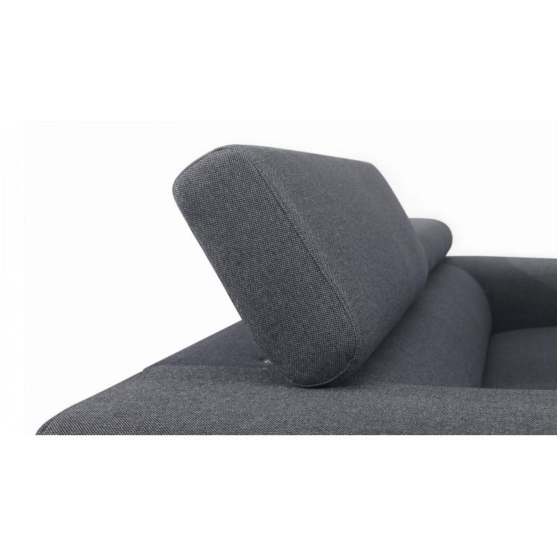 Canapé droit design 2 places avec têtières CYPRIA en tissu (gris foncé) - image 50144