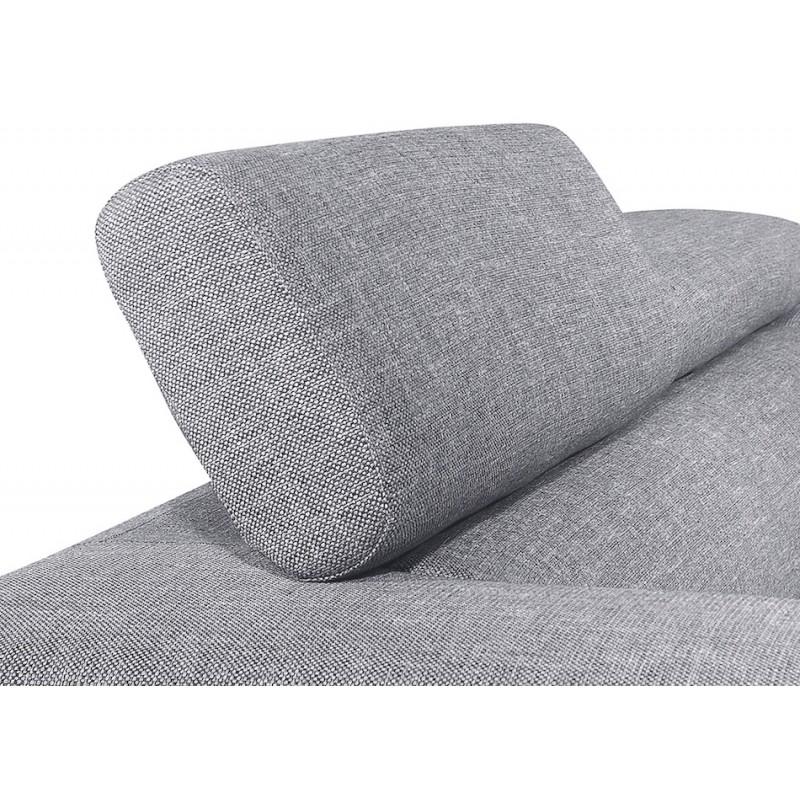 Canapé d'angle design 5 places avec appuis-tête ILONA en tissu - Angle Gauche (gris) - image 50152
