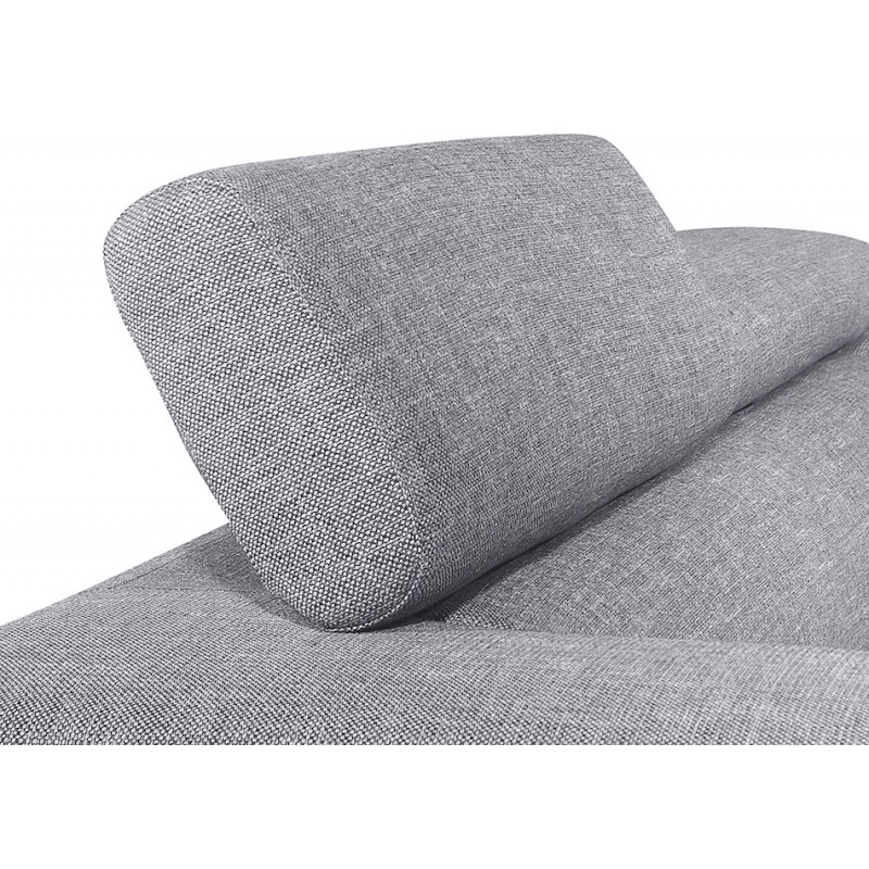 Canapé d'angle design 5 places avec appuis-tête ILONA en tissu - Angle Droit (gris) - image 50164