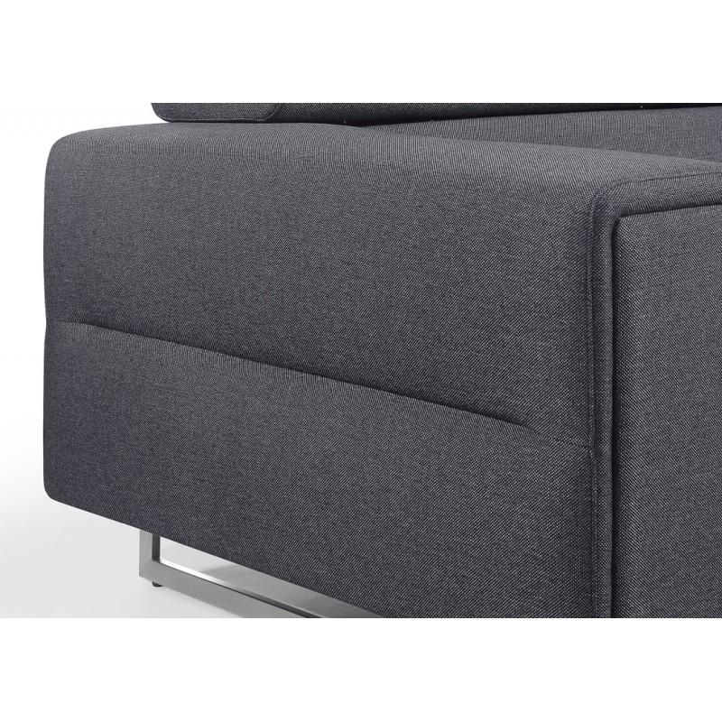 Canapé droit design 3 places avec têtières CYPRIA en tissu (gris foncé) - image 50173