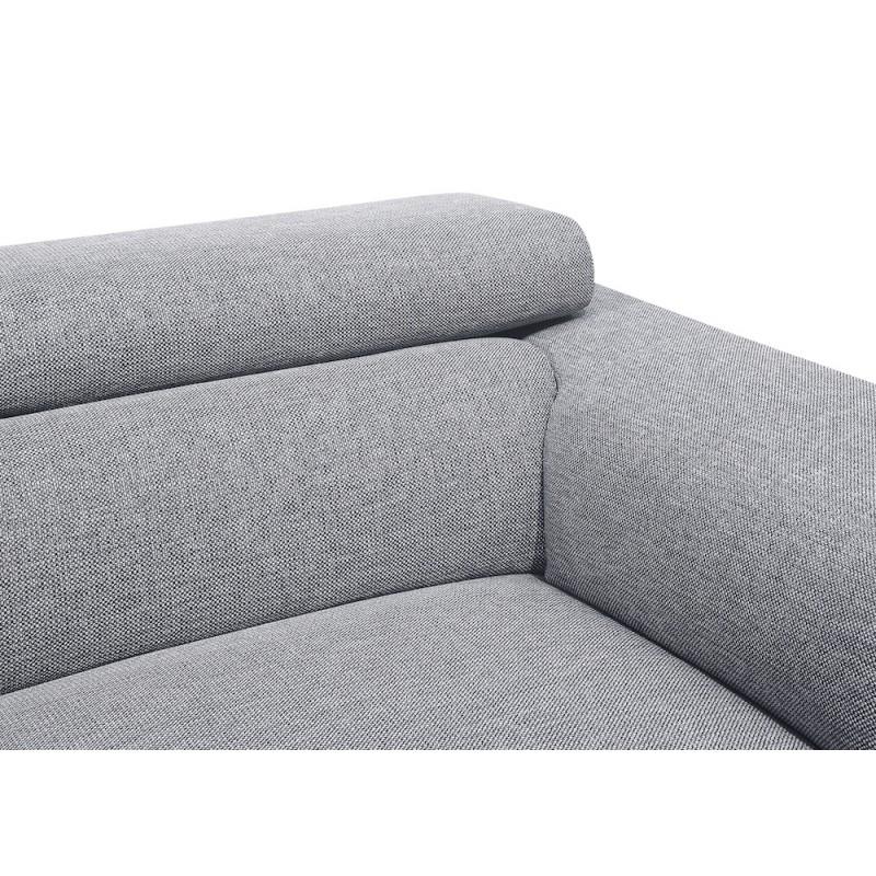 Canapé d'angle design 3-5 places avec appuis-tête LESLIE en tissu  - Angle Gauche (gris) - image 50184