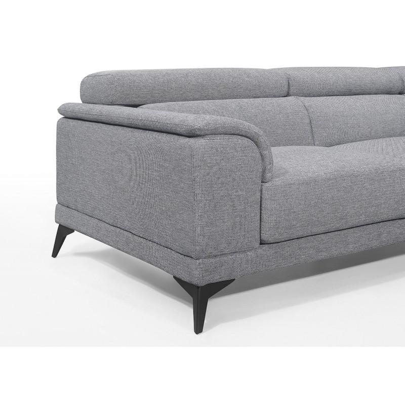 Canapé d'angle design 3-5 places avec appuis-tête LESLIE en tissu  - Angle Droit (gris) - image 50192