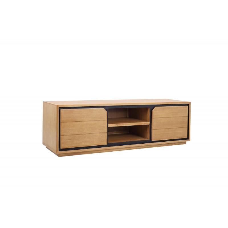 Solid teak TV furniture 2 doors 2 niches JENNA (150 cm) (natural) - image 50274