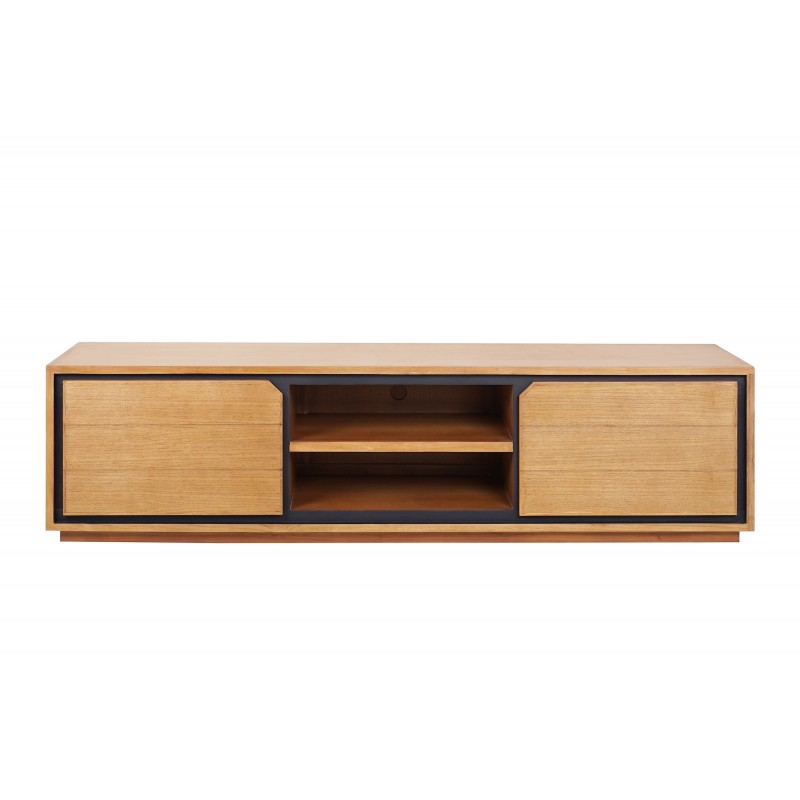 Muebles de TV de teca maciza 2 puertas 2 nichos JENNA (180 cm) (natural)