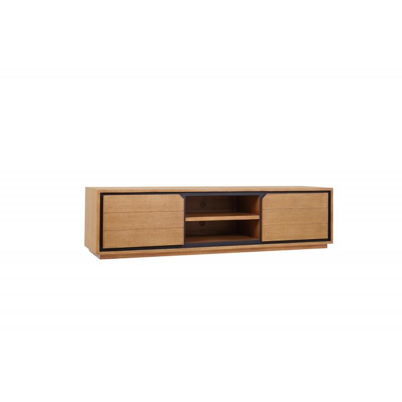 Muebles de TV de teca maciza 2 puertas 2 nichos JENNA (180 cm) (natural) - image 50288