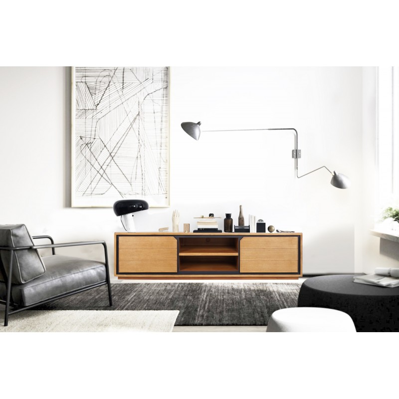 Solid teak TV furniture 2 doors 2 niches JENNA (180 cm) (natural) - image 50290