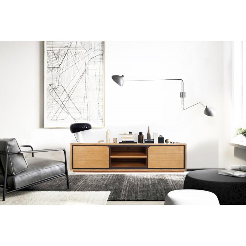 Muebles de TV de teca maciza 2 puertas 2 nichos JENNA (180 cm) (natural) - image 50290