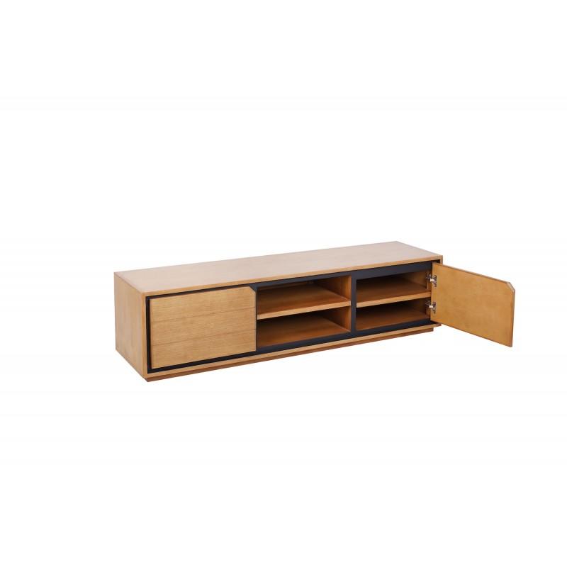 Solid teak TV furniture 2 doors 2 niches JENNA (180 cm) (natural) - image 50291