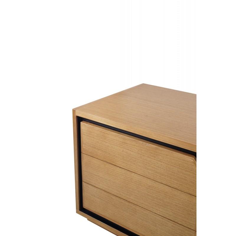Solid teak TV furniture 2 doors 2 niches JENNA (180 cm) (natural) - image 50295