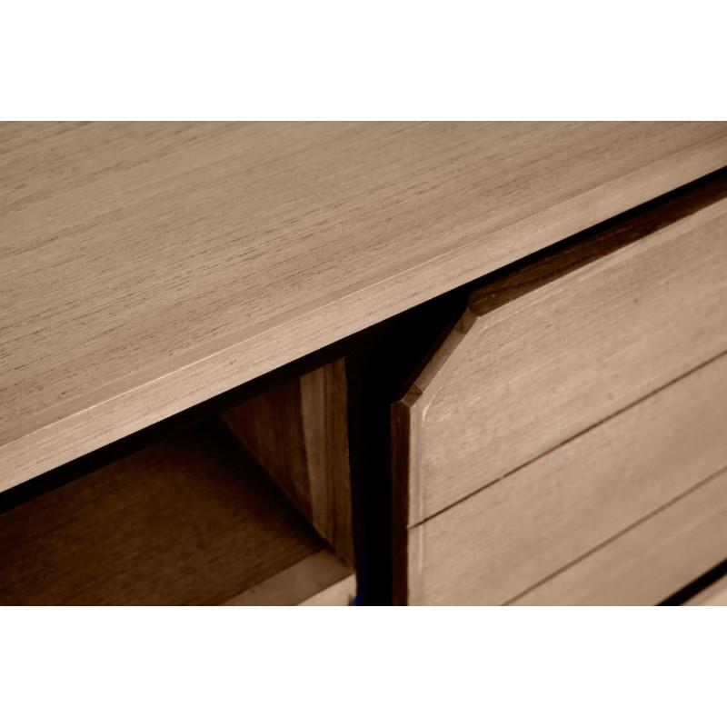 Muebles de TV de teca maciza 2 puertas 2 nichos JENNA (200 cm) (natural) - image 50310