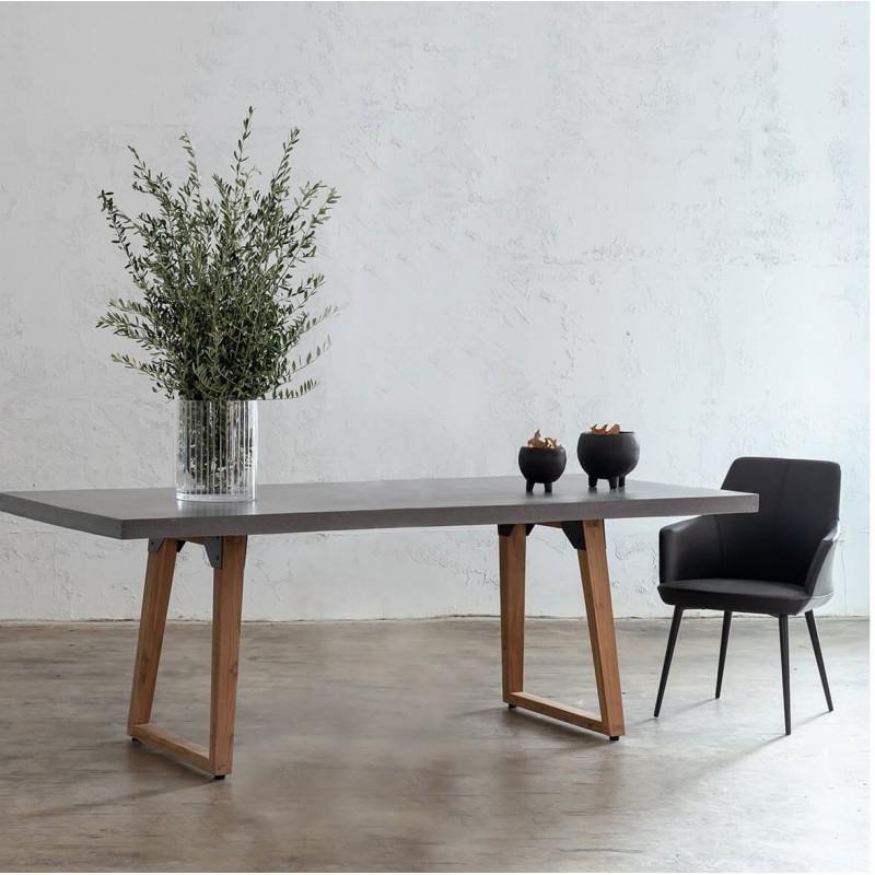 Table à manger design pieds teck massif OXANA (180 cm) (gris) - image 50322