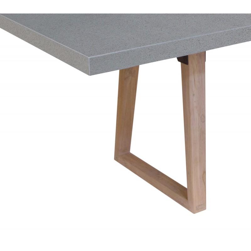 Table à manger design pieds teck massif OXANA (180 cm) (gris) - image 50323