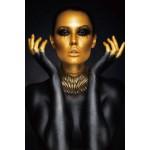 Tableau sur verre WOMAN GOLD and BLACK (Noir, doré)