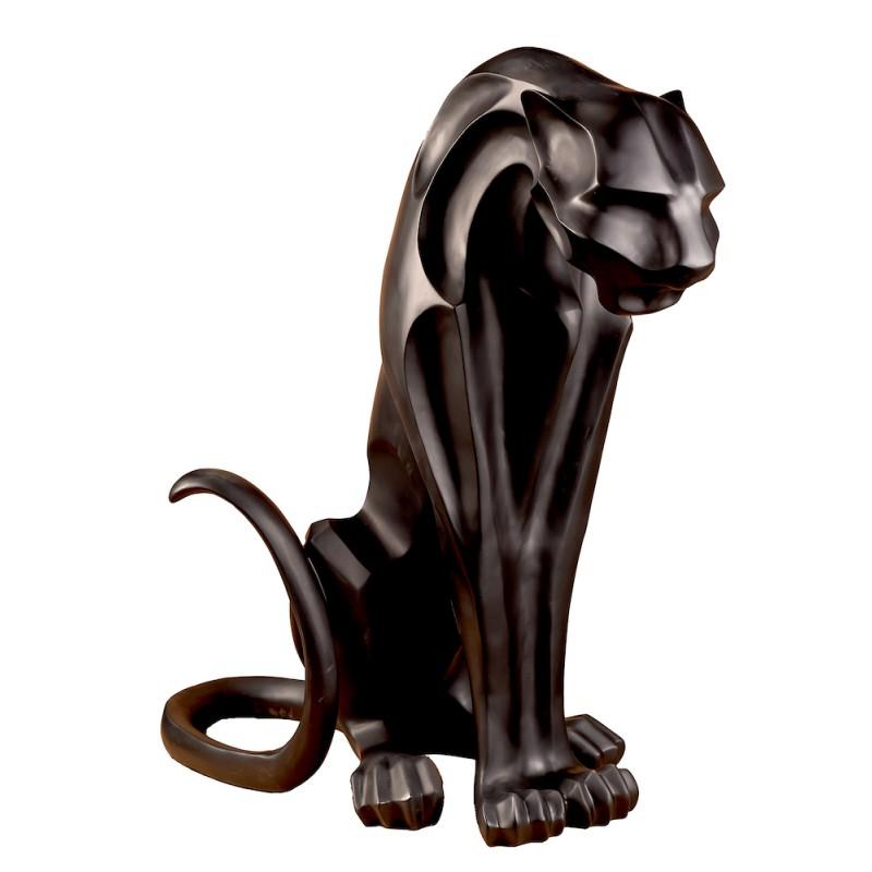 Statue sculpture décorative design PANTHERE ORIGAMI (H100 cm) (Canon de fusil)