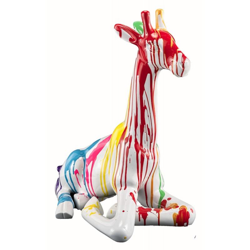 Statue sculpture décorative design GIRAFON TRASH BANC (H60) (Multicolore)