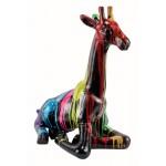 Statue dekorative Skulptur Design GIRAFON TRASH SCHWARZ (H60) (Bunte)