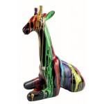 Statue sculpture décorative design GIRAFON TRASH NOIR (H60) (Multicolore)