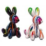 Escultura estatuario diseño decorativo DUO CHIENS TRASH (H25) (multicolor)