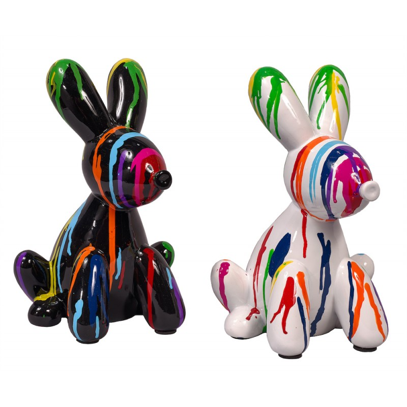 Statue sculpture décorative design DUO CHIENS TRASH (H25) (Multicolore) - image 50410