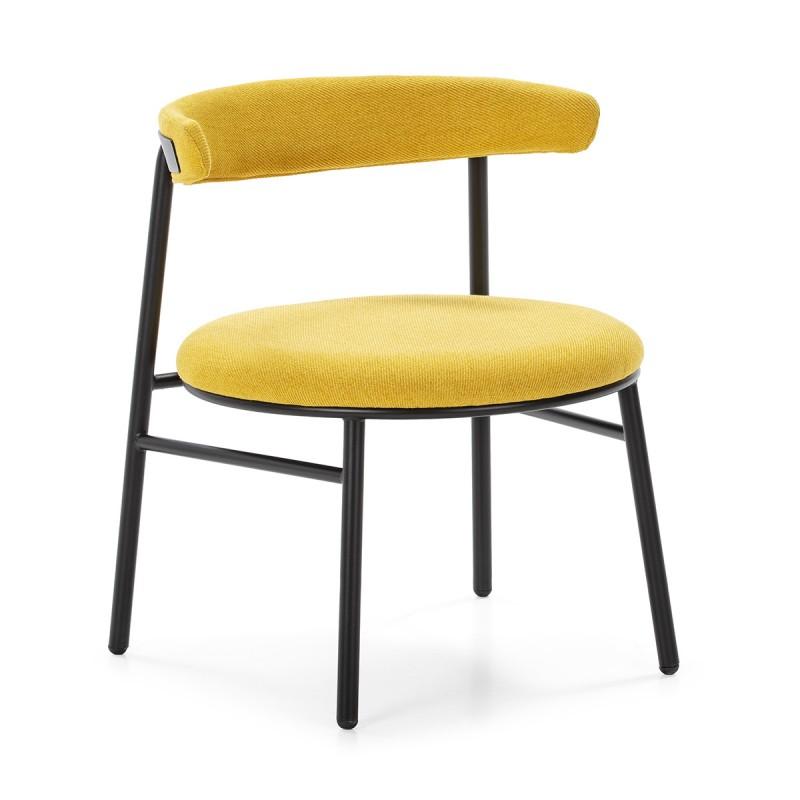 Retro Chair 59X59X70 Metal Black Fabric Yellow - image 50441
