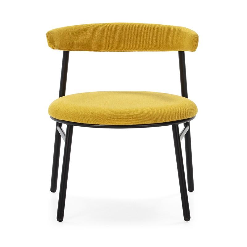 Retro Chair 59X59X70 Metal Black Fabric Yellow - image 50442