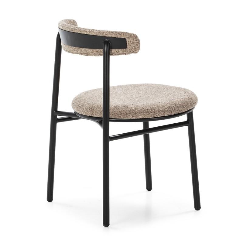 Chaise rétro 48x54x73 Métal Noir Toile Beige - image 50447
