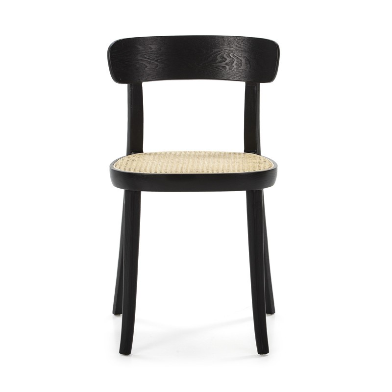 Chair 44X48X76 Wood Black Rattan Natural - image 50463