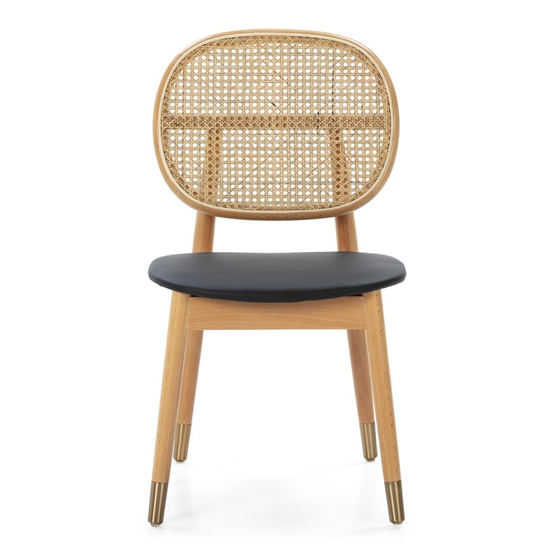 Chair 47X54X86 Wood Natural P.Leather Black Rattan Natural Metal Golden - image 50467