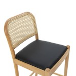 Snack Stool 43X47X97 Wood Natural P.Leather Black Rattan Natural