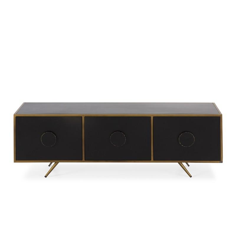 Tv Furniture 3 Doors 138X40X45 Metal Black Golden - image 50546