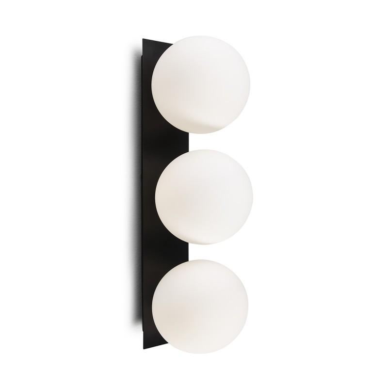 Wall Lamp 15X18X50 Glass White Metal Black