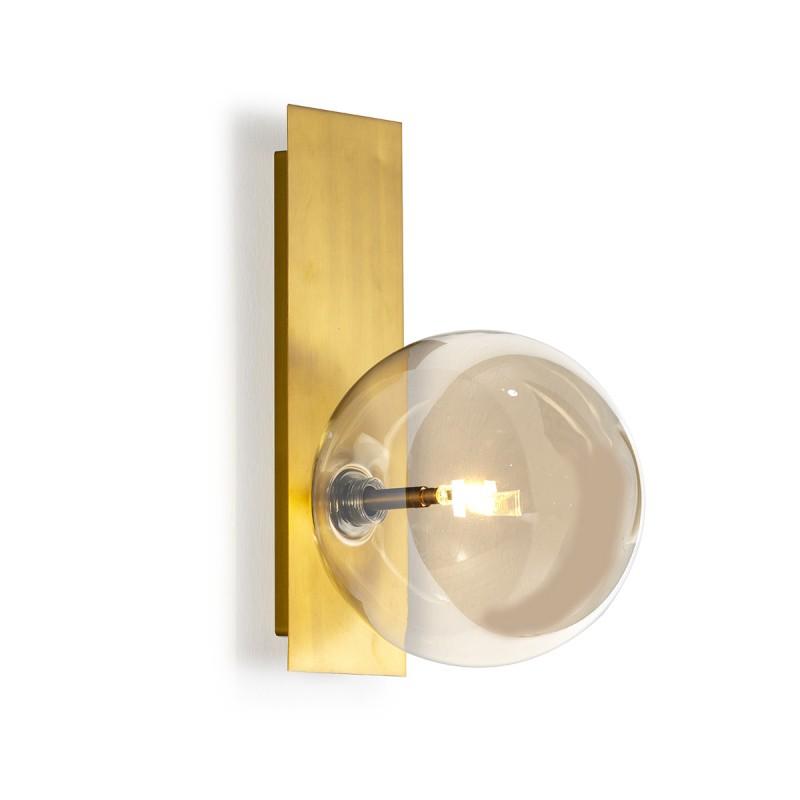 Wall Lamp 17X20X30 Glass Amber Metal Golden