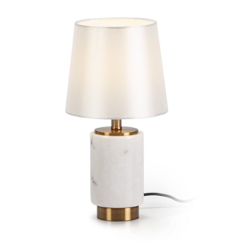 Table Lamp With Lampshade 10X10X26 Marble White Metal Golden