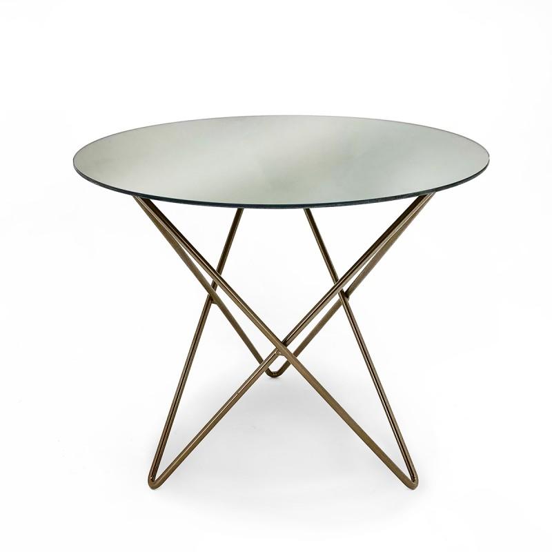 Table d'appoint, bout de canapé 43x43x37 Miroir Métal Doré