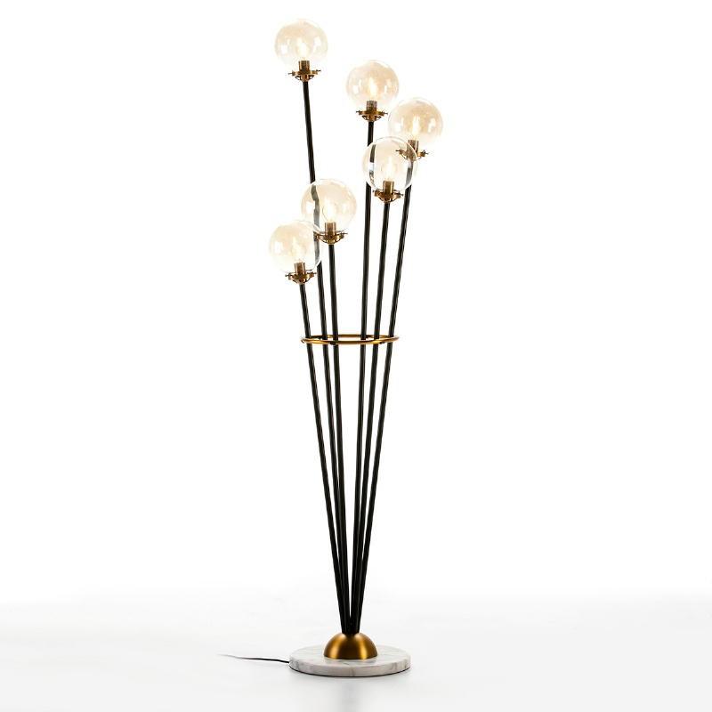 Standard Lamp 50X50X175 Marble White Glass Metal Golden Black