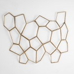 Decorative Wall Sculpture 107X6X77 Metal Golden